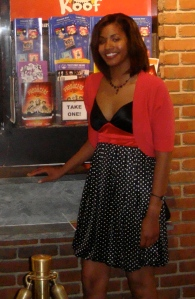 Tanya Harris aka Anonomz in front of Walnut Street Theatre